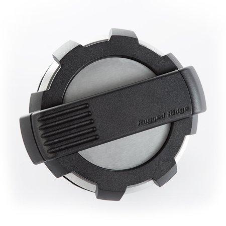Rugged Ridge 11425.10 Fuel Door Elite (TM) Rugged Ridge Logo; Brushed Aluminum/ Black Accent; Non-Locking - image 1 de 1