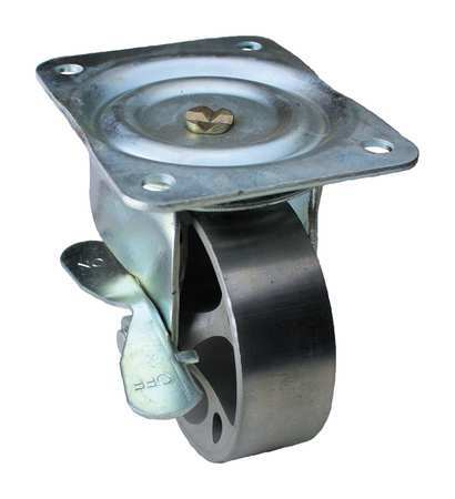 GRAINGER APPROVED Swivel Plate Caster w/Brake,Cast Iron,4in,450 lb, 01CA04141S001G
