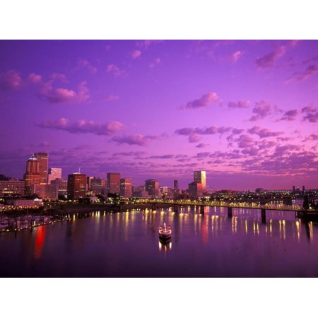 Sunrise over Spirit of Portland Ship, Willamette River, Portland, Oregon, USA Print Wall Art By Janis Miglavs (Spirit Usa)