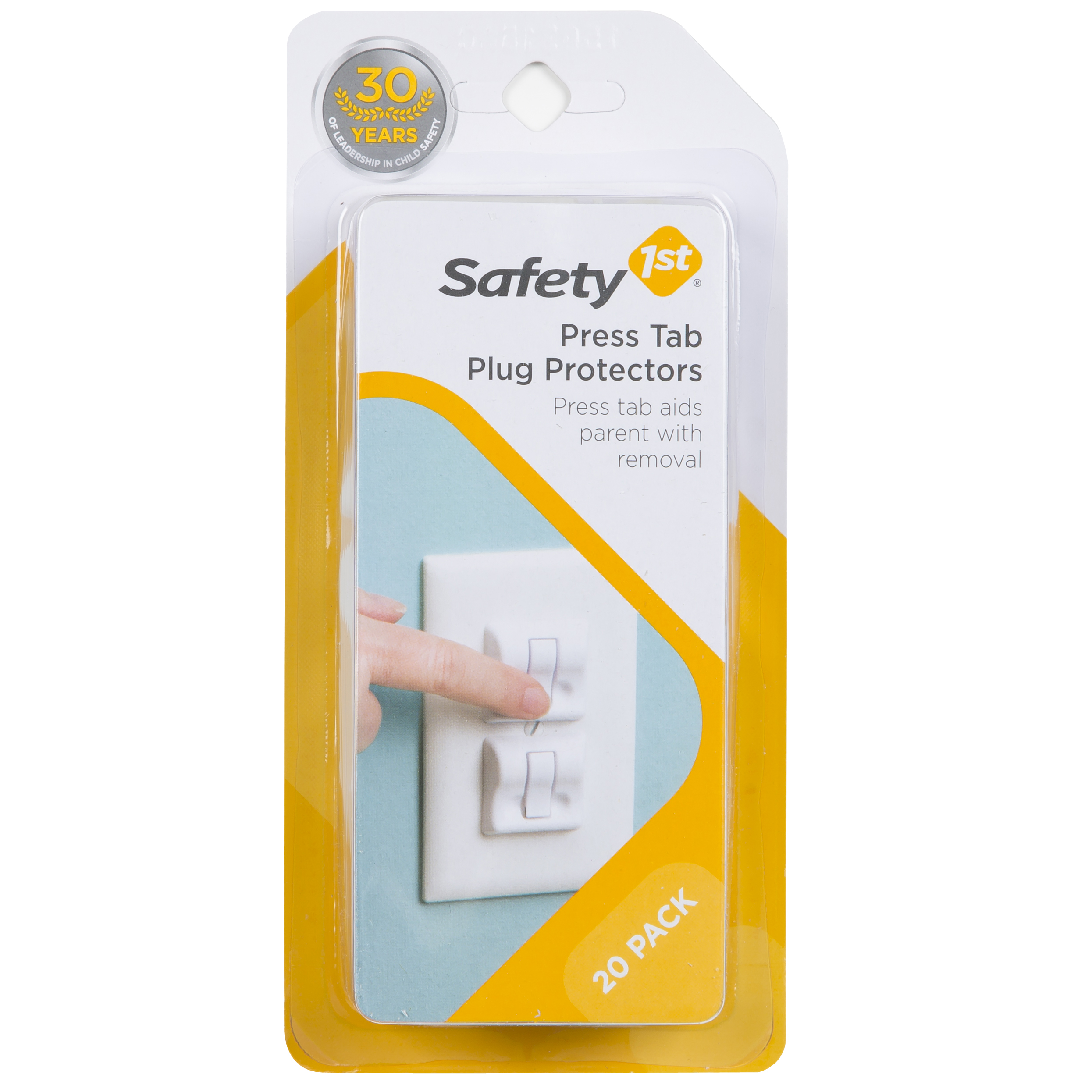 Safety 1ˢᵗ Press-Tab Plug Protectors, White