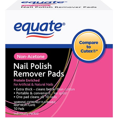 Equate Non-Acetone Nail Polish Remover Pads, 10 Ct