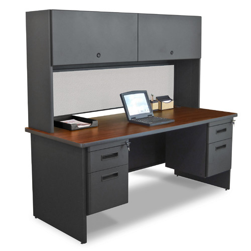 Marvel Office Furniture Pronto Executive Desk with Double File and Flipper Door Cabinet