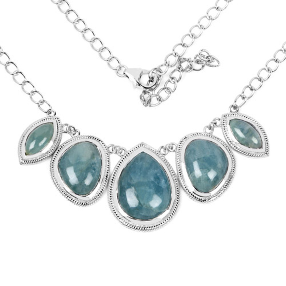 Genuine Pears Aquamarine Necklace in Sterling Silver by Bonyak Jewelry