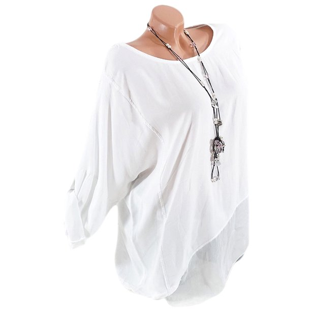 Women's Chiffon Plus Size Long Sleeve Casual Loose Plain Blouse