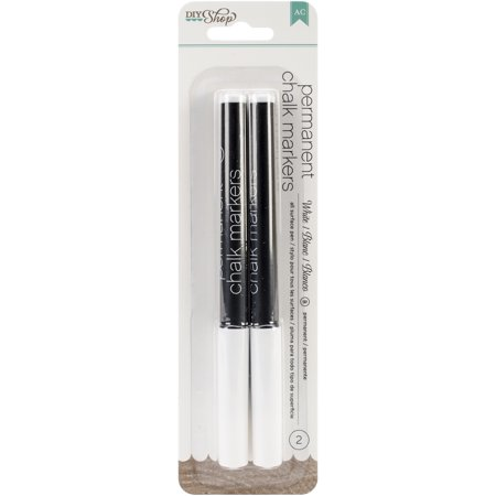 (DIY Shop 2 Permanent Chalk Markers 2/Pkg-White/Broad Tip)