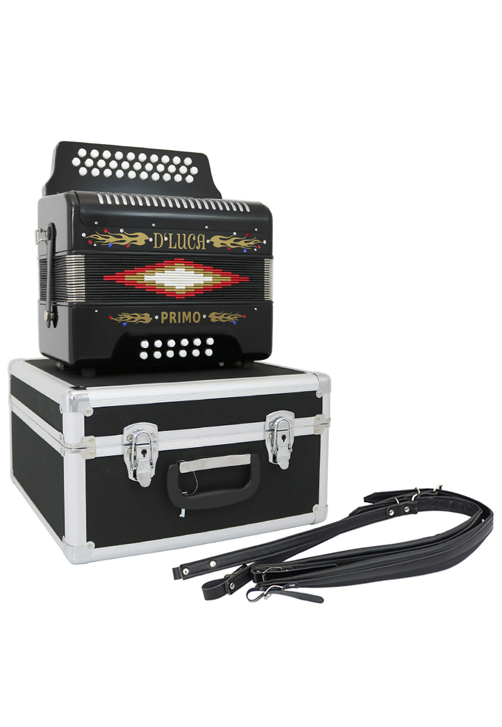 D'Luca Toro Button Accordion 31 Keys 12 Bass on FBE Key with Case and Straps, Black by D'Luca