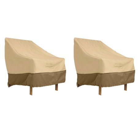 Classic Accessories Veranda High Back Dining Patio Chair Cover - Durable and Water Resistant Patio Cover, 2-Pack