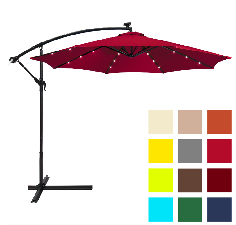 Best Choice Products 10ft Solar LED Offset Hanging Market Patio Umbrella w/ Easy Tilt Adjustment, Polyester Shade, 8 Ribs for Backyard, Poolside - Burgundy