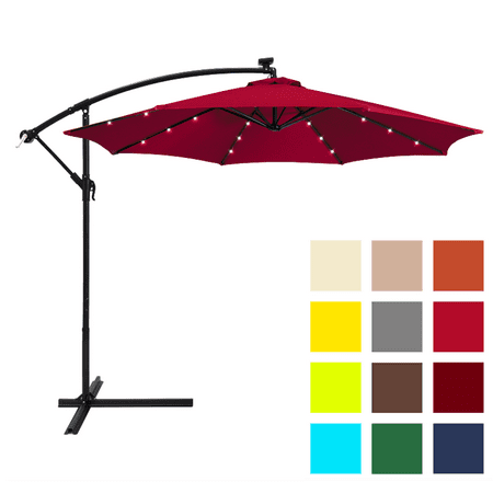 Umbrellas Patio Furniture - Best Choice Products 10ft Solar LED Offset Hanging Market Patio Umbrella w/ Easy Tilt Adjustment, Polyester Shade, 8 Ribs for Backyard, Poolside - Burgundy