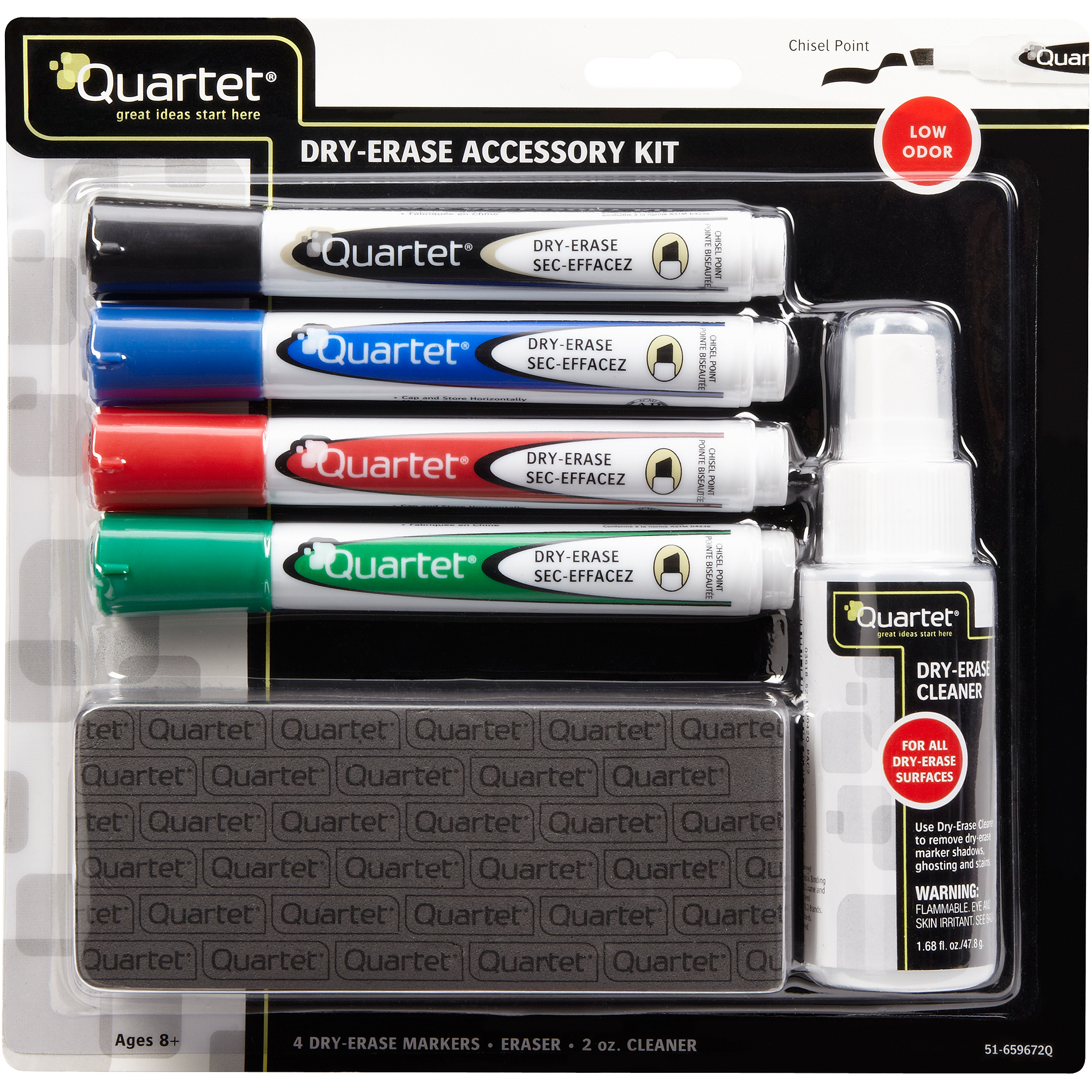 Quartet 4-Count Broad Dry-Erase Marker Kit