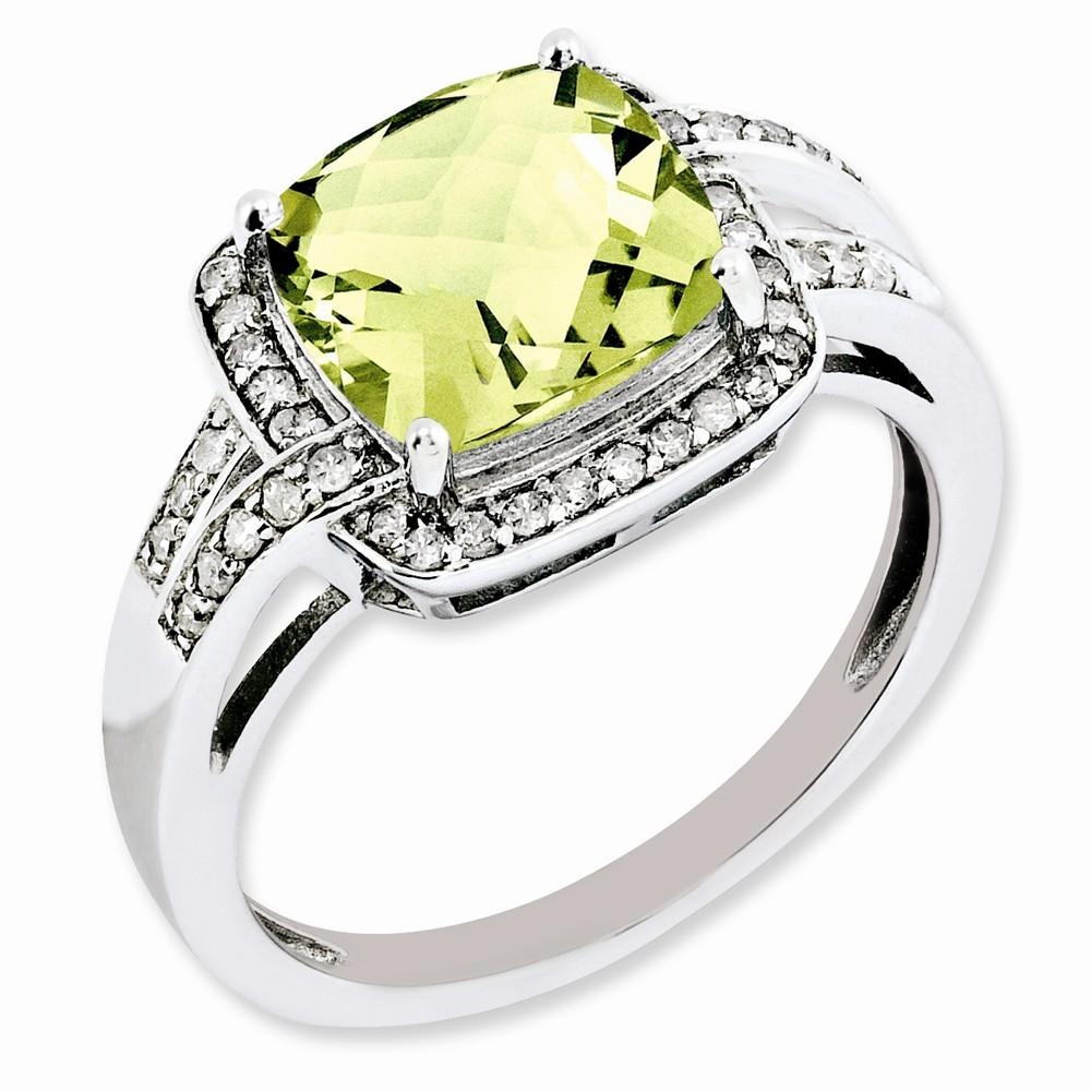 925 Sterling Silver Diamond Checker Cut Lemon Quartz Ring