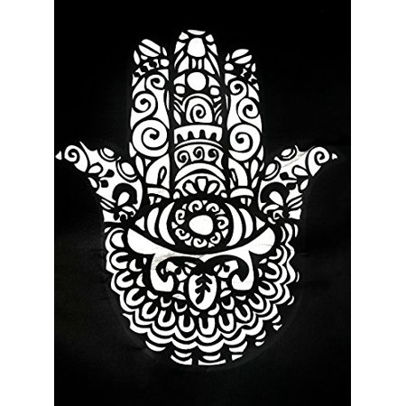 Premium 13 Piece Luxury Black Poly Cloth The Hamsa Hand Of Fatima Stitching Art Yoga Religous Meditation Universal Car Seat Cover Set W  Steering Wheel   Seat Belt Pads