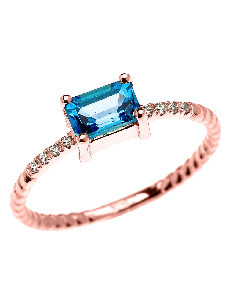 Dainty Rose Gold Solitaire Emerald Cut Blue Topaz and Diamond Rope Design Engagement Promise Ring (14K, 5.25) by