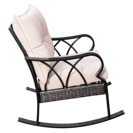 sunlife garden cafe wicker patio rocking chair with cushion - Patio Rocking Chairs