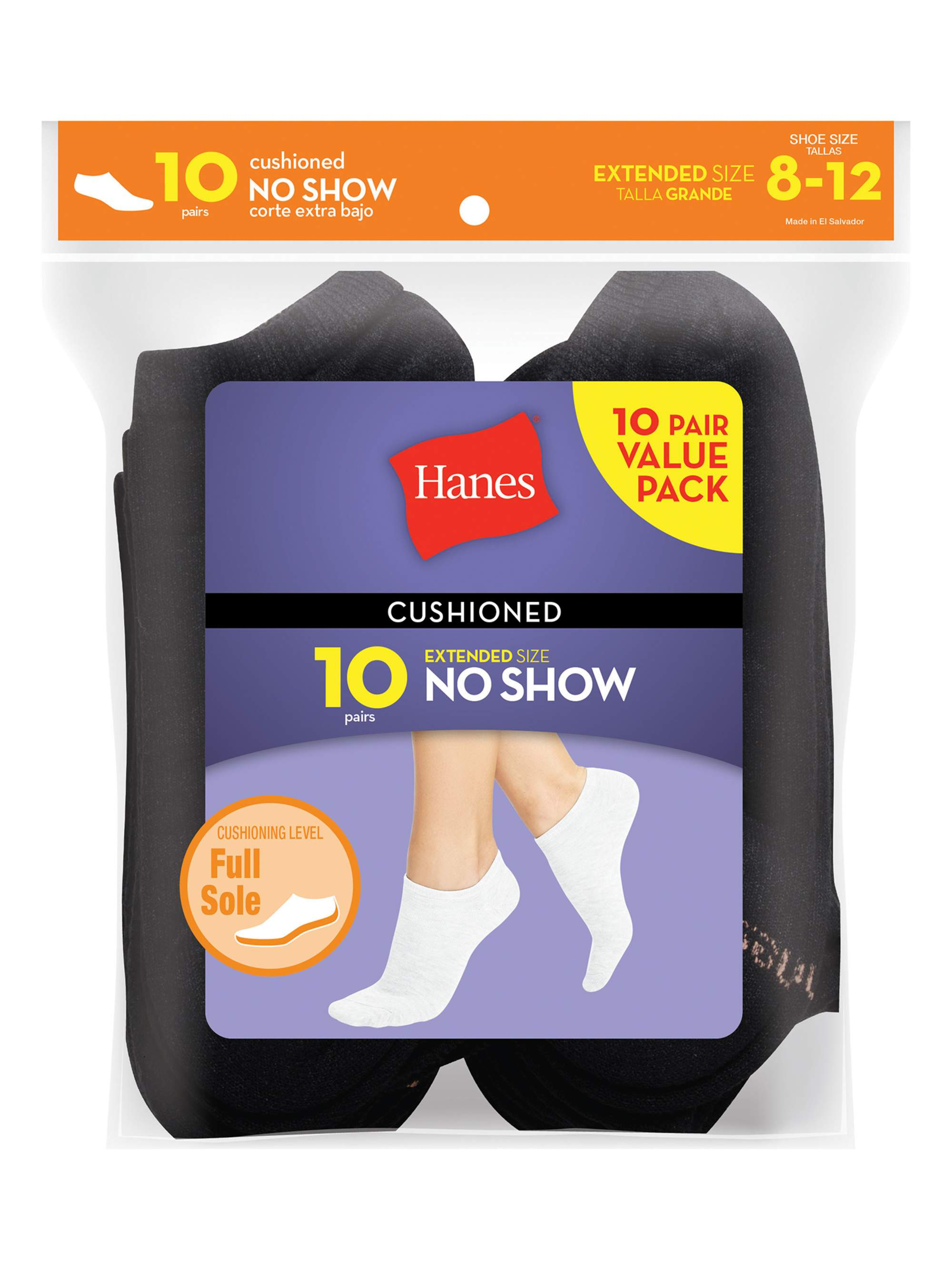 10-Pack Hanes Womens Ankle Sock Extended Size White Fits Shoe Size 8-12