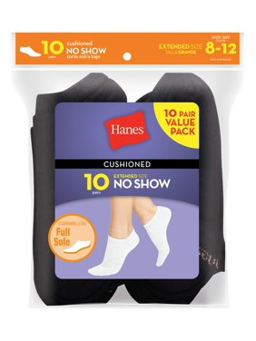 Hanes Women's Cushioned No Show Socks, 10 Pack