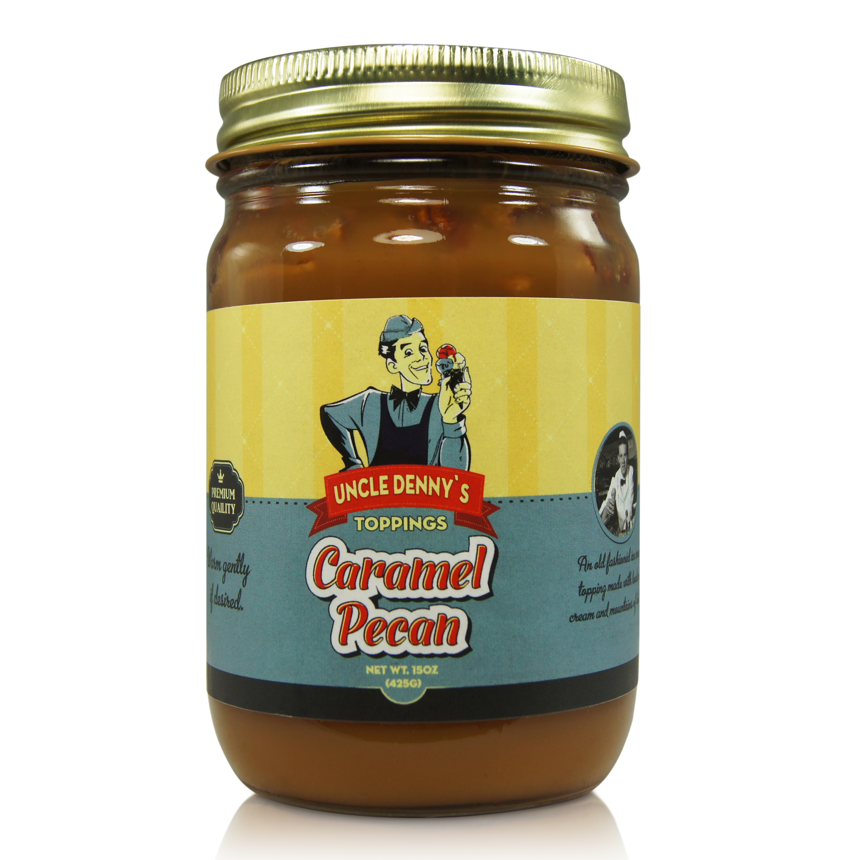 Uncle Denny's Caramel Pecan Gourmet Ice Cream Topping (15oz.) by Pioneer Valley by Pioneer Valley