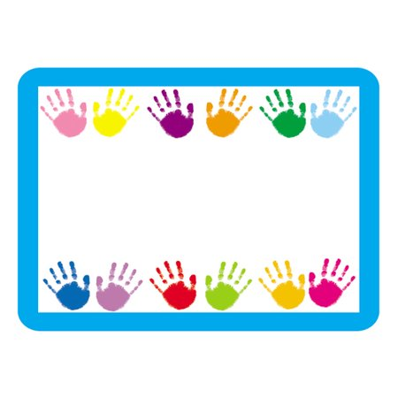Handprints Name Tags These convenient, self-adhesive Handprints name tags are ideal for labels, reminders, calendar and homework notes, and more! Each pack features 40 name tags, measuring 3  x 2.5?. Available in a variety of prints, name tags are fun addition to any classroom!