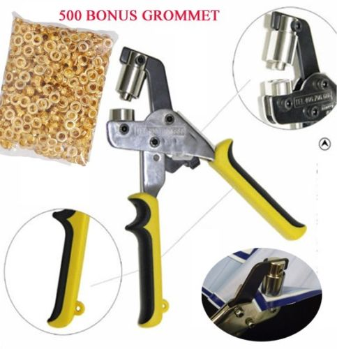 MTP ® Handheld Grommet Punch Press Tool for Vinyl Banner Sign w/ BONUS 500 #3 Piler Machine self piercing grommets