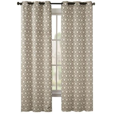 "Mystique Modern Lattice Pattern Grommet Top Curtain Panel Pair, 74"" X 84"", Taupe"