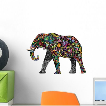 Elephant Stick (Cheerful Elephant Wall Decal Sticker by Wallmonkeys Vinyl Peel and Stick Graphic (12 in W x 8 in H) )