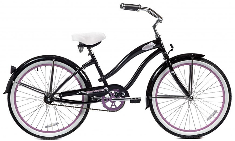 "Micargi Rover, Black with Pink Rims - Women's 24"" Beach Cruiser Bike"