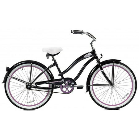 Micargi Rover, Black with Pink Rims - Womens 24u0022 Beach Cruiser Bike