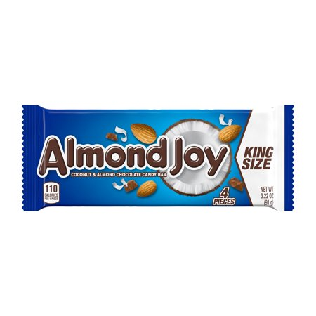 ALMOND JOY, Coconut and Almond Chocolate Candy Bars, Gluten Free, 3.22 oz, King Size Pack (4 Pieces)