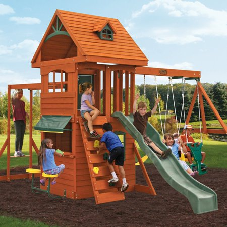 Big Backyard Ridgeview Deluxe Clubhouse Swing Set Walmart Com