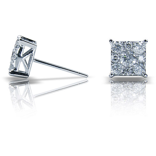 1 Carat T.W. Square Diamond 10kt White Gold Stud Earrings