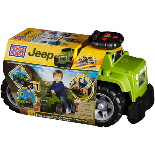 Mega Bloks 3-in-1 Jeep Ride-On and Push Toy with Blocks and Sounds | DBL17