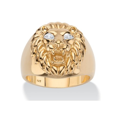 Lion Head 1/2 Ring (Men's Diamond Accent Lion Head Ring in 18k Gold over Sterling Silver )