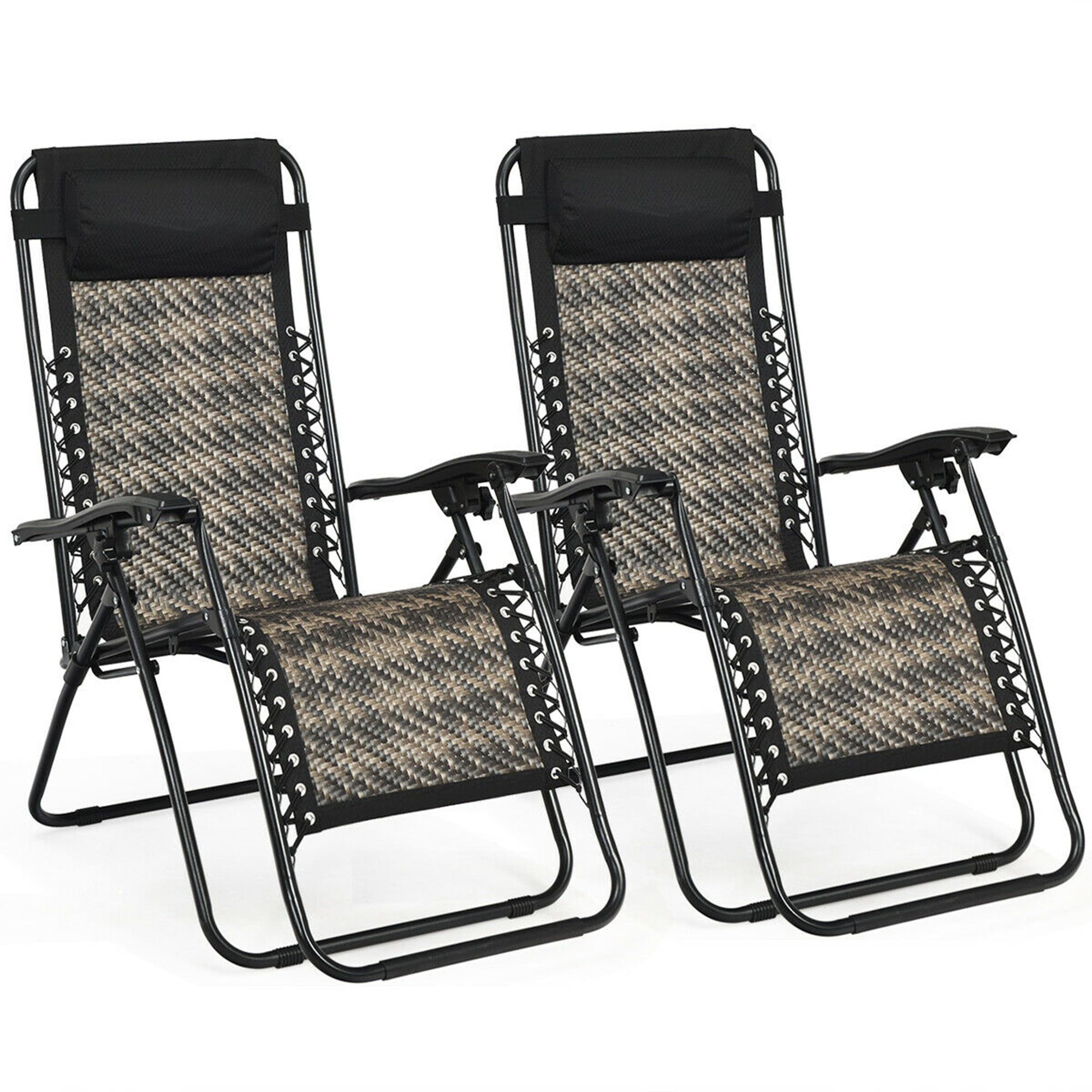 Gymax Set of 10 Folding Rattan Patio Zero Gravity Lounge Chair Recliner w/  Pillow   Walmart.com