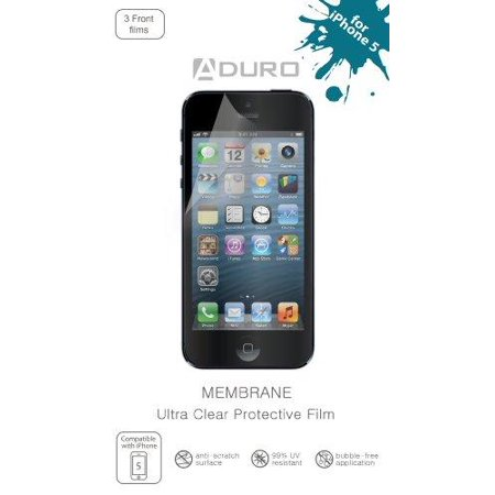 Aduro Membrane Ultra Clear  Invisible  Screen Protector For Iphone 4   4S  At T  Sprint And Verizon  3 Front   2 Back Films  Retail Packaging