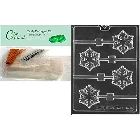 CybrTrayd C468 Frozen Snowflake Lolly Chocolate Candy Mold with 50 4.5-Inch Lollipop Sticks, Clear](Snowflake Candy)