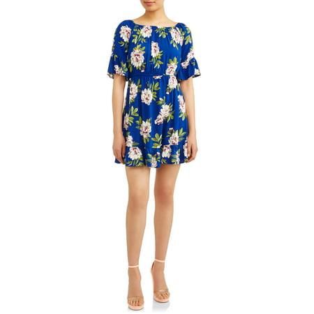 Paper Tee Juniors' Ruffle Sleeve Floral Dress