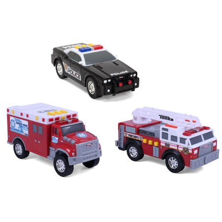 Funrise Toys - Tonka Mini 3 Pack, Fire Engine, Police Cruiser, Ambulance - Fire Engine Party