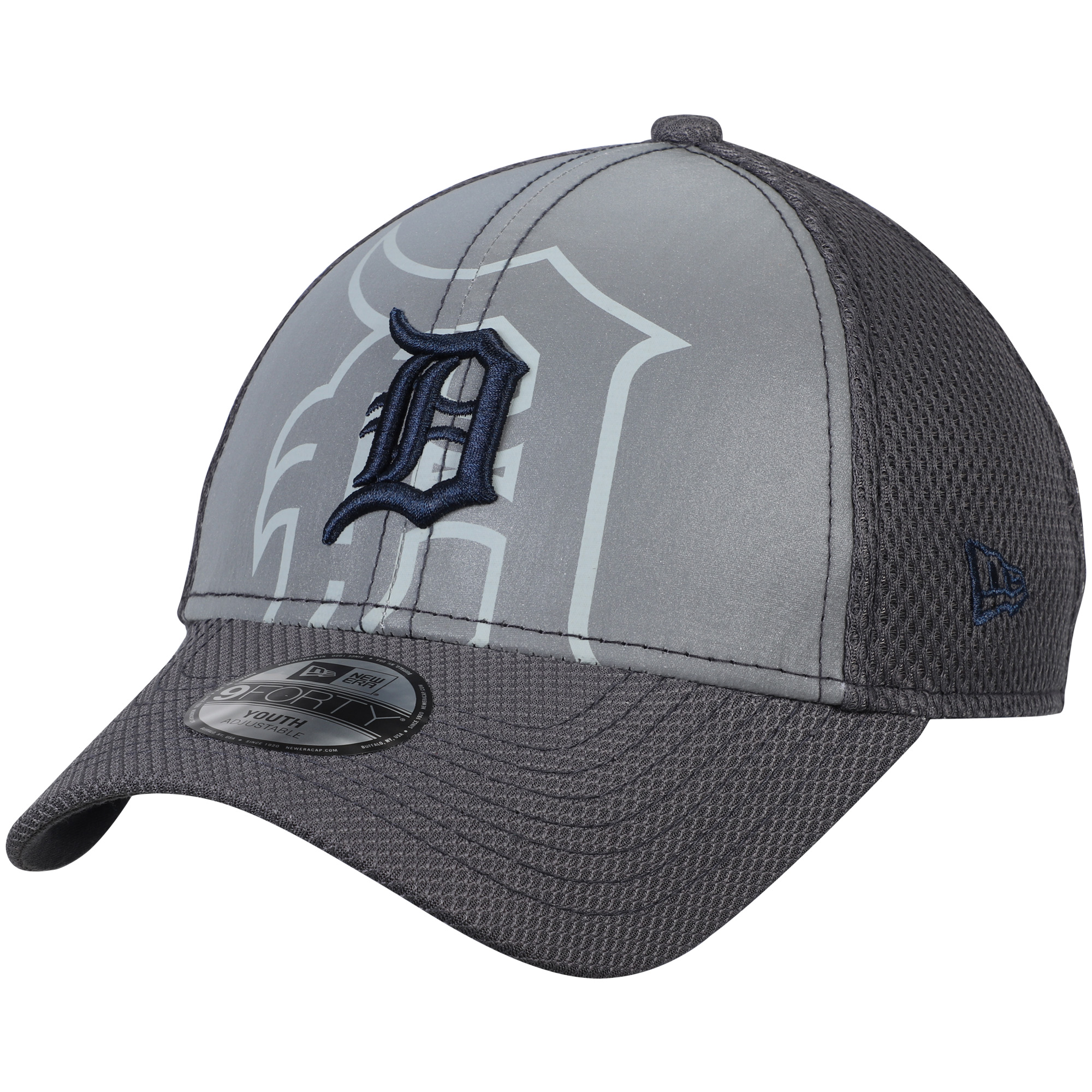 Detroit Tigers New Era Youth Meshed Flect 9FORTY Adjustable Hat - Gray - OSFA