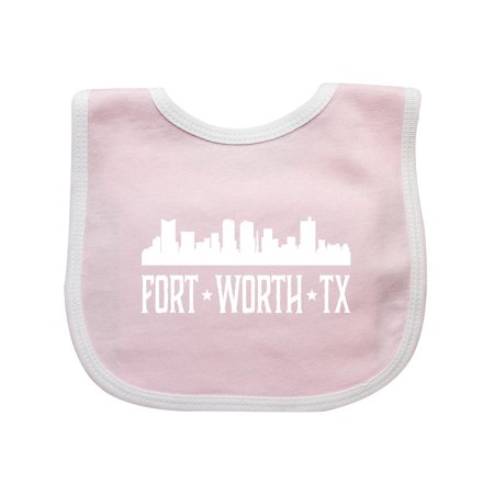 Fort Worth Texas Skyline TX Cities Baby Bib Pink/White One Size - Party City Fort Worth Tx