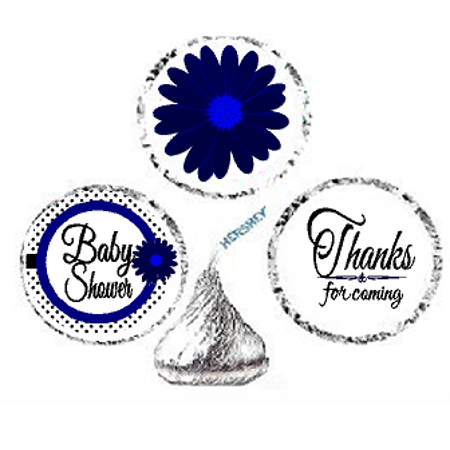 216ct Navy Baby Shower Party Favor Hersheys Kisses Candy Decoration Stickers / Labels](Silver Baby Shower Decorations)