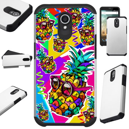 For AT&T Axia Cricket Vision (2018) Case Hybrid TPU Fusion Phone Cover (Pineapple Party)](Phone Party)