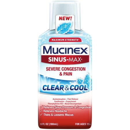2 Pack - Mucinex Sinus-Max Clear & Cool Max Strength Severe Congestion & Pain Liquid 6
