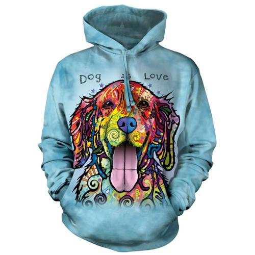 The Mountain Men's  Dog Is Love Hooded Sweatshirt Blue