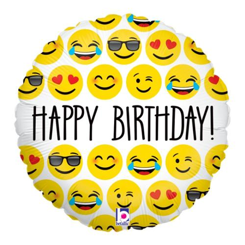 "Emoji Birthday 18"" Balloon - Party Supplies"