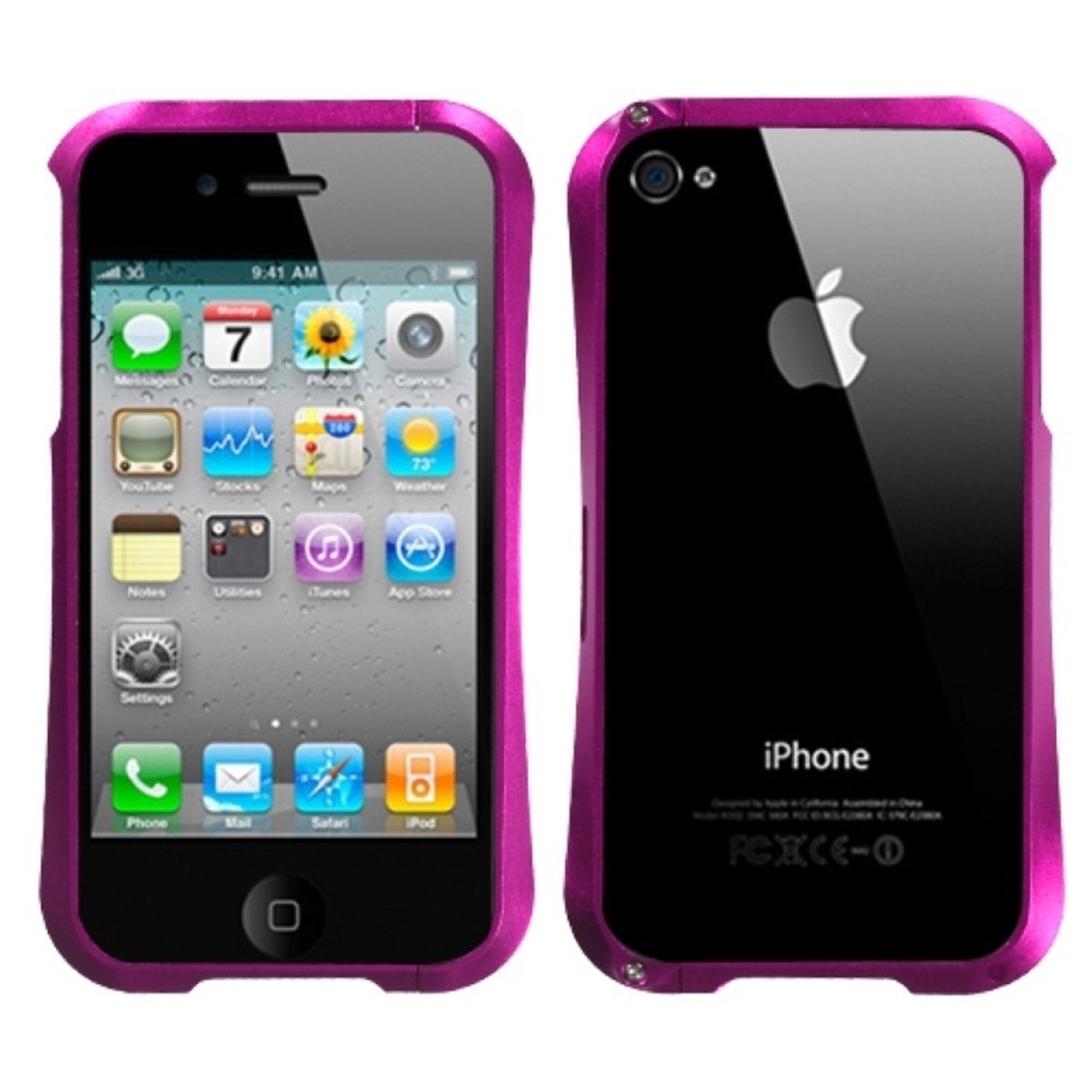 Insten Hot Pink Nitro Surround Shield with Chrome Metal Case For APPLE iphone 4S/4