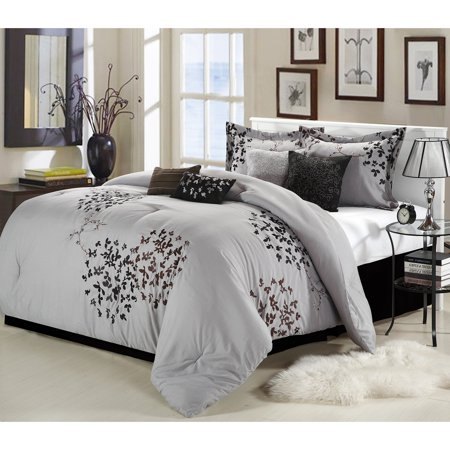 Chic Home Cheila Embroidered Comforter Set - Queen - Silver - 12 Piece (Silver Queen Comforter Set)