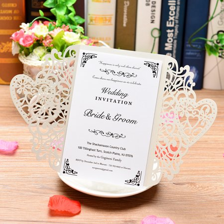 20Pcs Pearl Paper Cut Wedding Invitation Cards Greeting Card Kits Event Party Supplies with Blank Inner Sheet - image 7 of 7