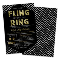 Personalized One Last Fling Before The Ring Bachelorette Party Invitations