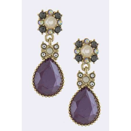 Gray Gemstone Earrings - Fashion Jewelry Metal Framed Purple Nacre Gem Drop with Clear and Gray Accent Crystals, Post Back Earrings