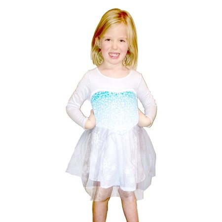 Frozen I Am Elsa Girls Long Sleeve Glitter Blue Dress